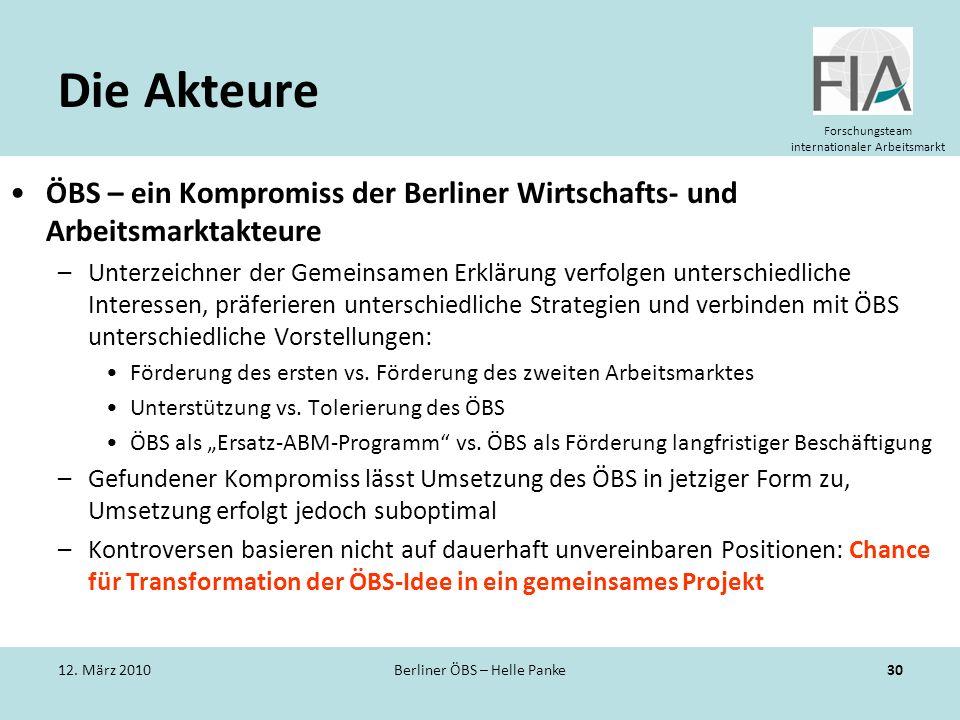 Forschungsteam internationaler Arbeitsmarkt Die Akteure ÖBS – ein Kompromiss der Berliner Wirtschafts- und Arbeitsmarktakteure –Unterzeichner der Geme