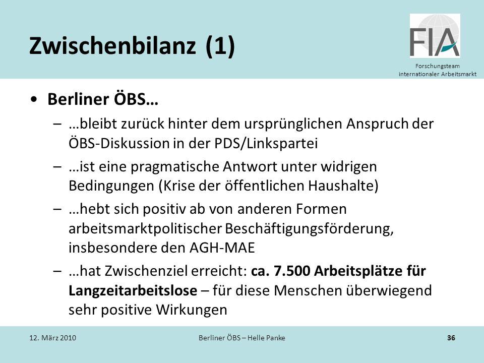 Forschungsteam internationaler Arbeitsmarkt Zwischenbilanz (1) Berliner ÖBS… –…bleibt zurück hinter dem ursprünglichen Anspruch der ÖBS-Diskussion in