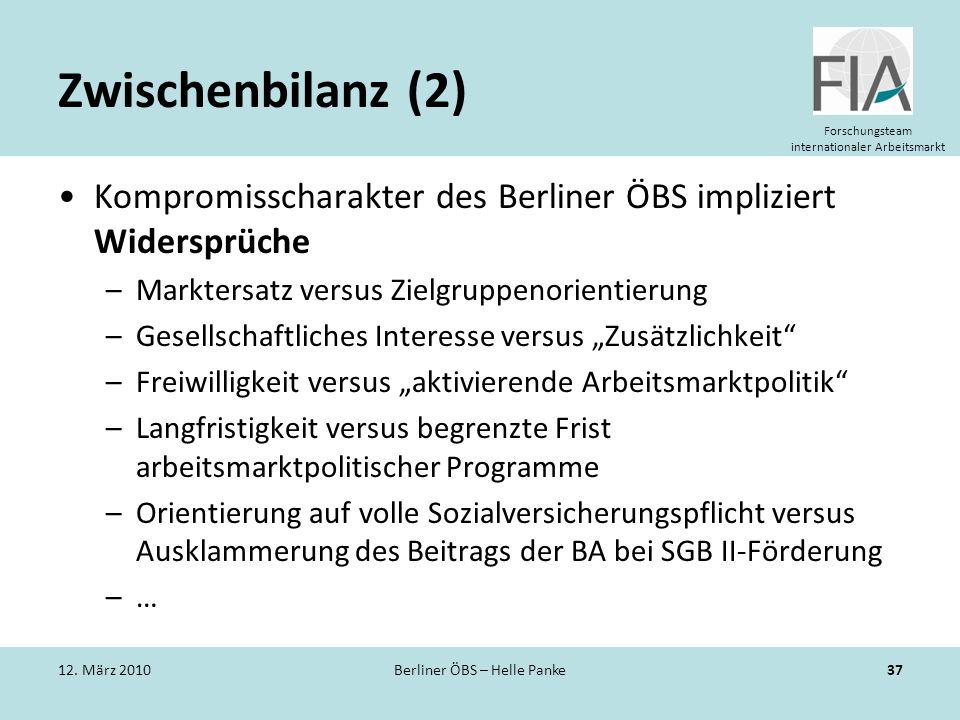 Forschungsteam internationaler Arbeitsmarkt Zwischenbilanz (2) Kompromisscharakter des Berliner ÖBS impliziert Widersprüche –Marktersatz versus Zielgr