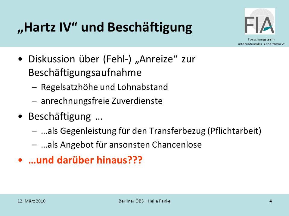Forschungsteam internationaler Arbeitsmarkt Hartz IV und Beschäftigung Diskussion über (Fehl-) Anreize zur Beschäftigungsaufnahme –Regelsatzhöhe und L