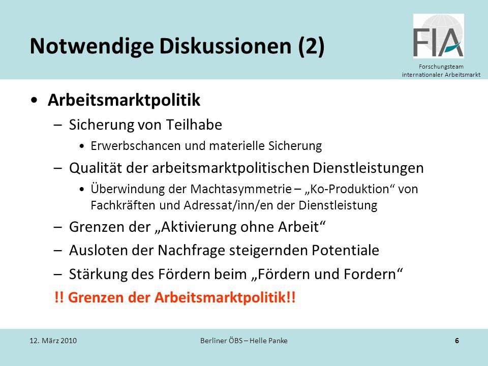 Forschungsteam internationaler Arbeitsmarkt Notwendige Diskussionen (2) Arbeitsmarktpolitik –Sicherung von Teilhabe Erwerbschancen und materielle Sich