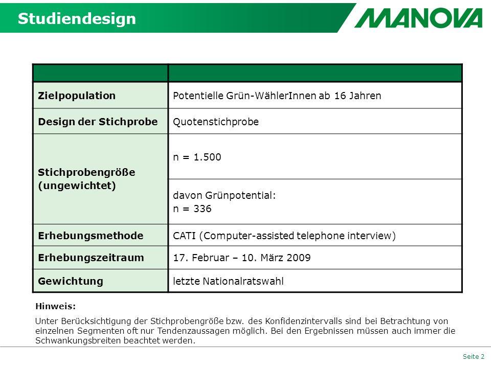 Seite 2 Studiendesign ZielpopulationPotentielle Grün-WählerInnen ab 16 Jahren Design der StichprobeQuotenstichprobe Stichprobengröße (ungewichtet) n =