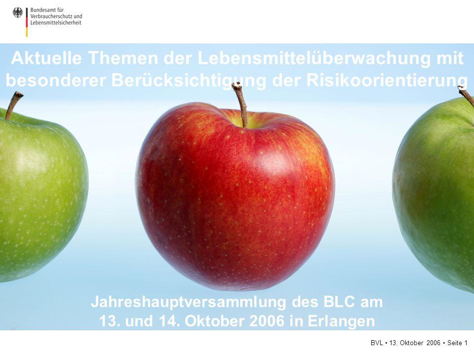 BVL 13. Oktober 2006 Seite 1 Aktuelle Themen der Lebensmittelüberwachung mit besonderer Berücksichtigung der Risikoorientierung Jahreshauptversammlung