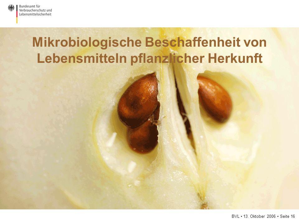 BVL 13. Oktober 2006 Seite 16 Mikrobiologische Beschaffenheit von Lebensmitteln pflanzlicher Herkunft