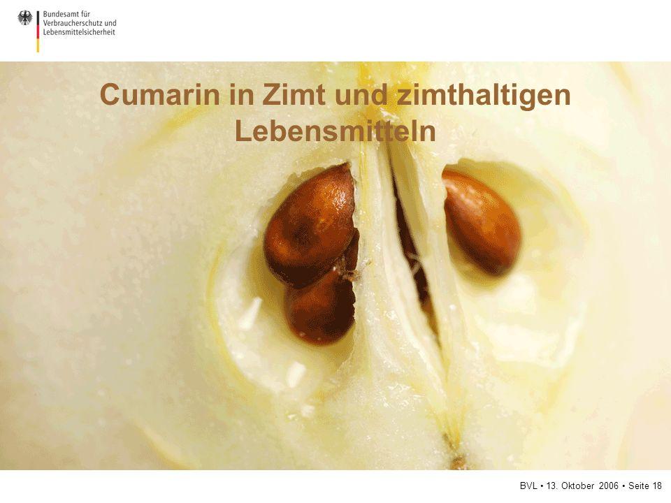 BVL 13. Oktober 2006 Seite 18 Cumarin in Zimt und zimthaltigen Lebensmitteln