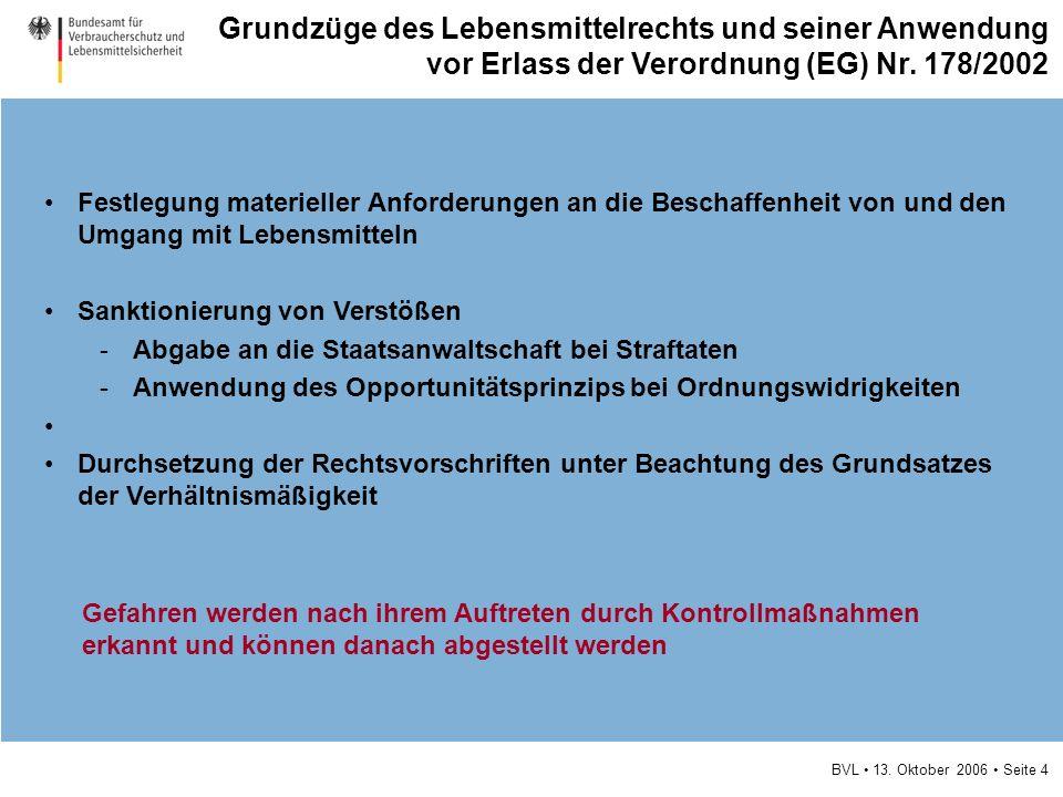 BVL 13. Oktober 2006 Seite 4 Festlegung materieller Anforderungen an die Beschaffenheit von und den Umgang mit Lebensmitteln Sanktionierung von Verstö