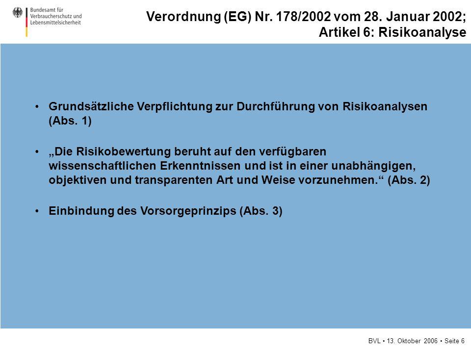 BVL 13. Oktober 2006 Seite 6 Grundsätzliche Verpflichtung zur Durchführung von Risikoanalysen (Abs. 1) Die Risikobewertung beruht auf den verfügbaren