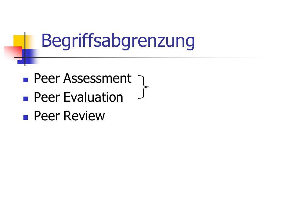 Mit Peer-Review ist eine anonyme Begutachtung ( review ) durch fachliche Kollegen ( peers ) gemeint, wodurch die Qualität wissenschaftlicher Leistungen bewertet und sichergestellt werden soll (PRO-WISS, URL: http://www.prowiss.unizh.ch/infos/glossar/glossar.html) http://www.prowiss.unizh.ch/infos/glossar/glossar.html Zwei Hauptfunktionen: Reviewing: Kommunikation mit Kollegen und Autoren Feedback Geben, zur Hilfe von Manuskriptverbesserungen Refereeing: Eine Qualitätsuntergrenze für Artikel festlegen und Qualität kontrollieren Eigenschaften: geringe Kohärenz und Relevanz der Peer Reviews, (z.T.