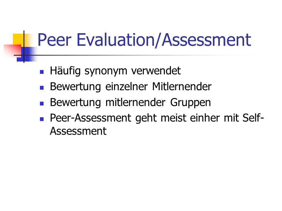 Peer Evaluation/Assessment Häufig synonym verwendet Bewertung einzelner Mitlernender Bewertung mitlernender Gruppen Peer-Assessment geht meist einher