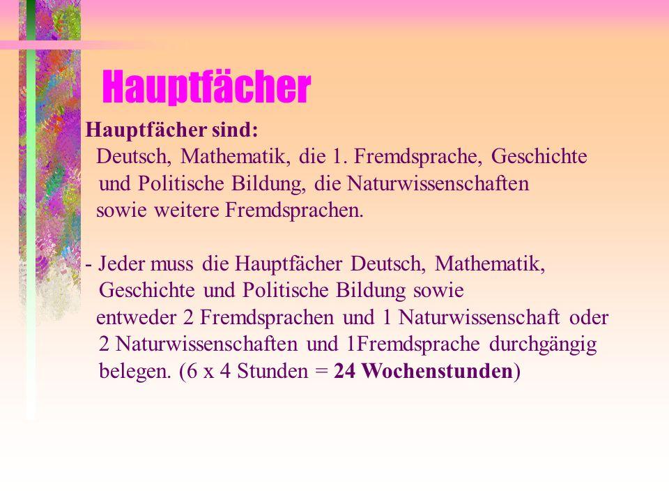 Hauptfächer Hauptfächer sind: Deutsch, Mathematik, die 1. Fremdsprache, Geschichte und Politische Bildung, die Naturwissenschaften sowie weitere Fremd