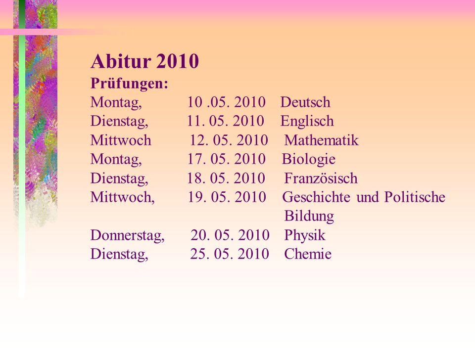 Abitur 2010 Prüfungen: Montag, 10.05. 2010Deutsch Dienstag, 11. 05. 2010Englisch Mittwoch 12. 05. 2010 Mathematik Montag, 17. 05. 2010 Biologie Dienst