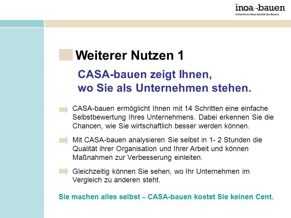 CASA-bauen ermöglicht Ihnen mit 14 Schritten eine einfache Selbstbewertung Ihres Unternehmens. Dabei erkennen Sie die Chancen, wie Sie wirtschaftlich