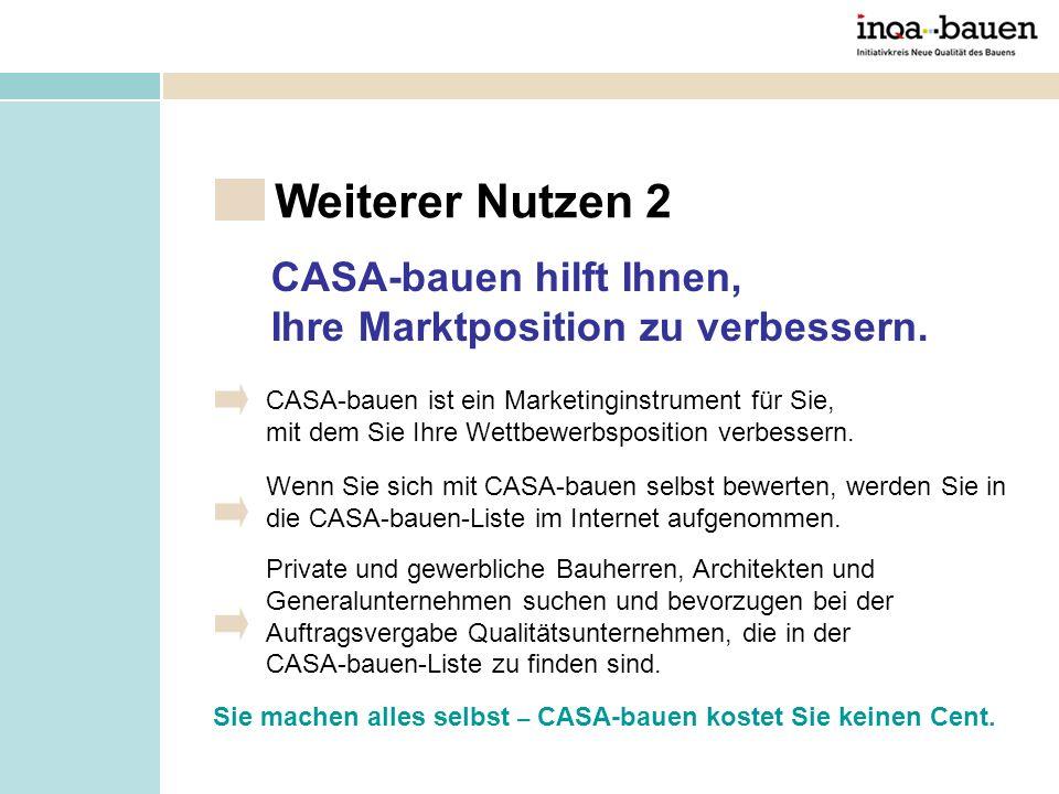 Sie machen alles selbst – CASA-bauen kostet Sie keinen Cent. Weiterer Nutzen 2 CASA-bauen ist ein Marketinginstrument für Sie, mit dem Sie Ihre Wettbe