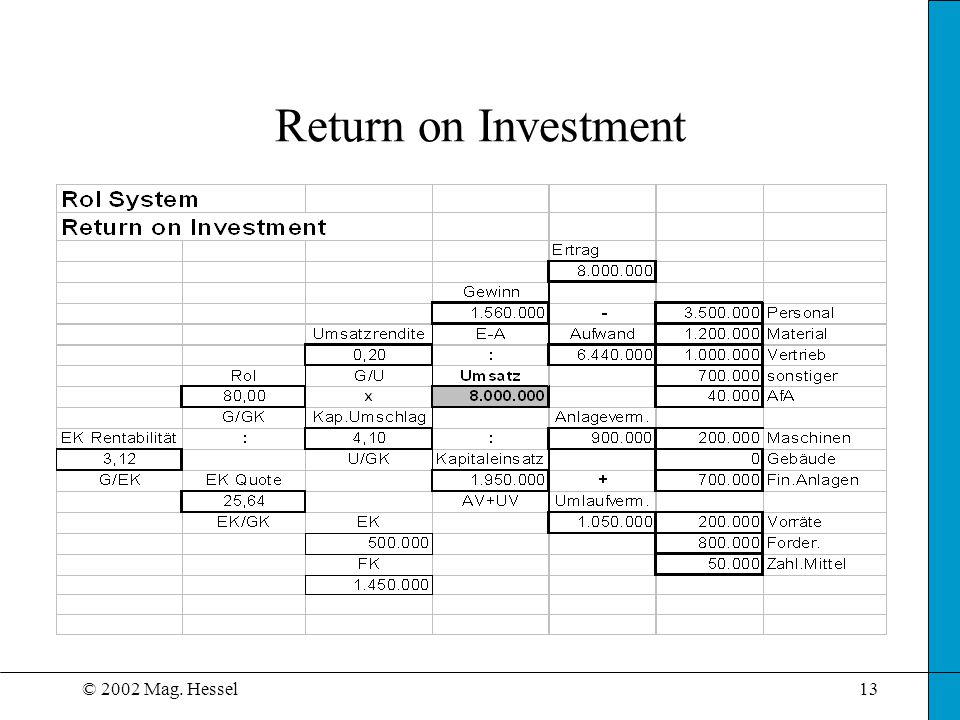 © 2002 Mag. Hessel13 Return on Investment