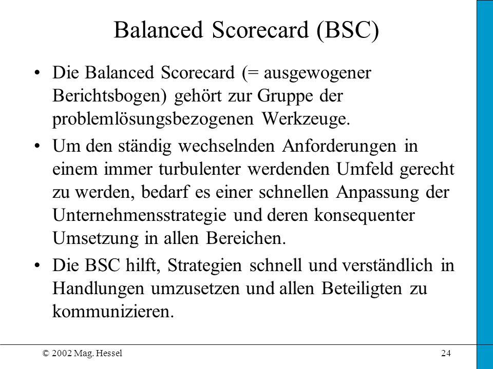 © 2002 Mag. Hessel24 Balanced Scorecard (BSC) Die Balanced Scorecard (= ausgewogener Berichtsbogen) gehört zur Gruppe der problemlösungsbezogenen Werk