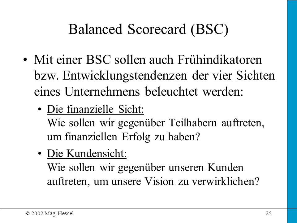 © 2002 Mag. Hessel25 Balanced Scorecard (BSC) Mit einer BSC sollen auch Frühindikatoren bzw. Entwicklungstendenzen der vier Sichten eines Unternehmens