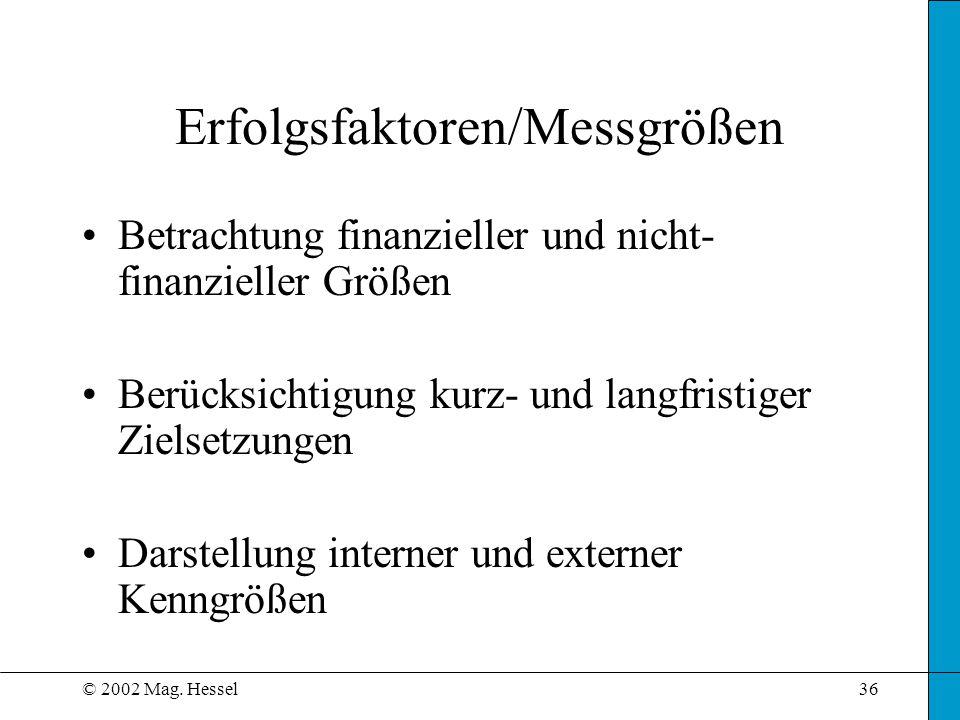 © 2002 Mag. Hessel36 Erfolgsfaktoren/Messgrößen Betrachtung finanzieller und nicht- finanzieller Größen Berücksichtigung kurz- und langfristiger Ziels