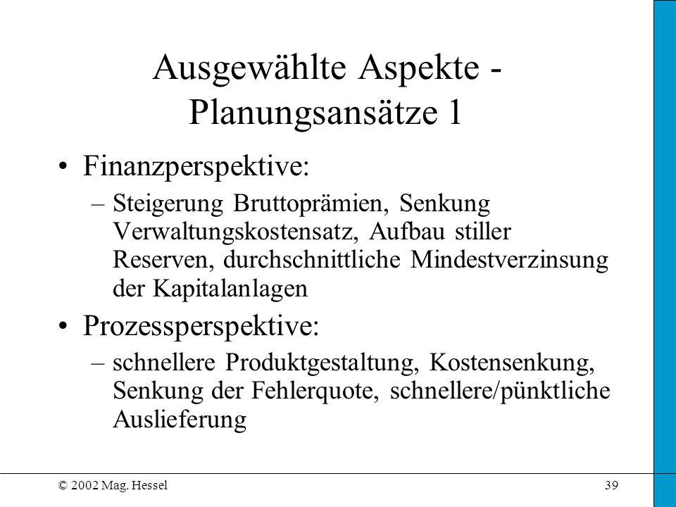© 2002 Mag. Hessel39 Ausgewählte Aspekte - Planungsansätze 1 Finanzperspektive: –Steigerung Bruttoprämien, Senkung Verwaltungskostensatz, Aufbau still
