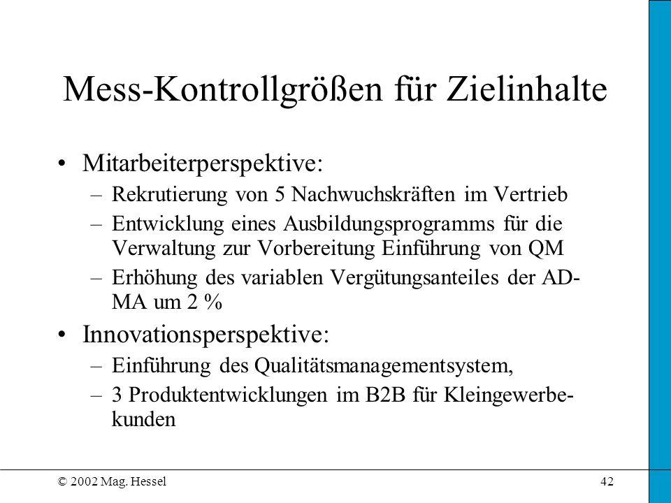 © 2002 Mag. Hessel42 Mitarbeiterperspektive: –Rekrutierung von 5 Nachwuchskräften im Vertrieb –Entwicklung eines Ausbildungsprogramms für die Verwaltu
