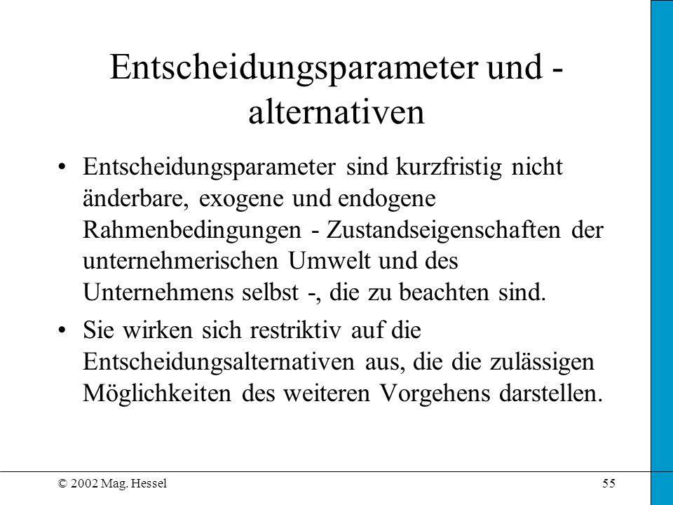 © 2002 Mag. Hessel55 Entscheidungsparameter und - alternativen Entscheidungsparameter sind kurzfristig nicht änderbare, exogene und endogene Rahmenbed