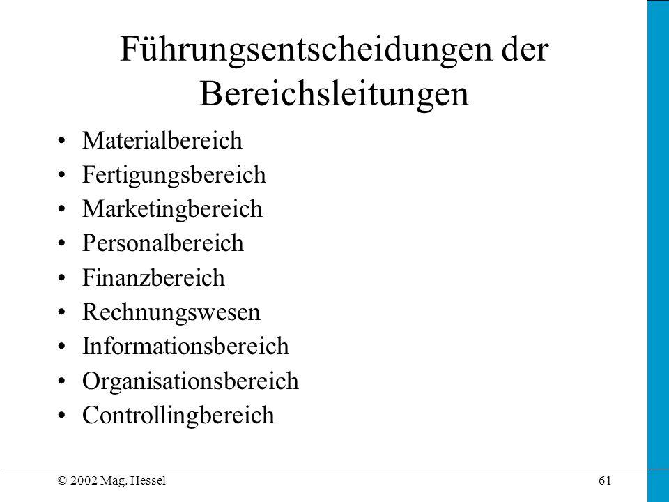 © 2002 Mag. Hessel61 Materialbereich Fertigungsbereich Marketingbereich Personalbereich Finanzbereich Rechnungswesen Informationsbereich Organisations
