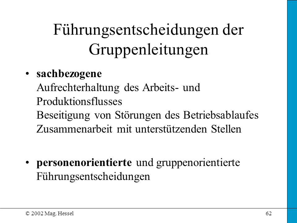 © 2002 Mag. Hessel62 sachbezogene Aufrechterhaltung des Arbeits- und Produktionsflusses Beseitigung von Störungen des Betriebsablaufes Zusammenarbeit