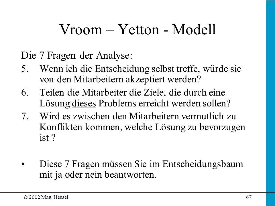 © 2002 Mag. Hessel67 Vroom – Yetton - Modell Die 7 Fragen der Analyse: 5.Wenn ich die Entscheidung selbst treffe, würde sie von den Mitarbeitern akzep