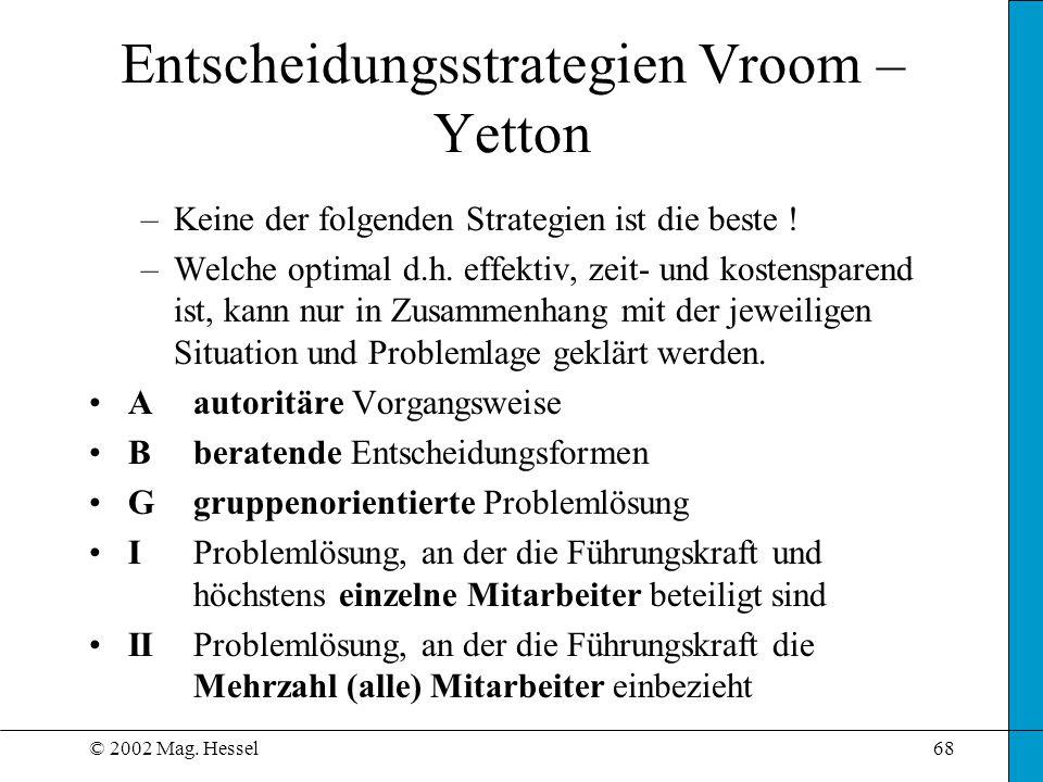© 2002 Mag. Hessel68 –Keine der folgenden Strategien ist die beste ! –Welche optimal d.h. effektiv, zeit- und kostensparend ist, kann nur in Zusammenh
