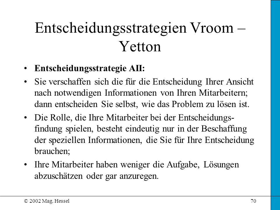 © 2002 Mag. Hessel70 Entscheidungsstrategie AII: Sie verschaffen sich die für die Entscheidung Ihrer Ansicht nach notwendigen Informationen von Ihren