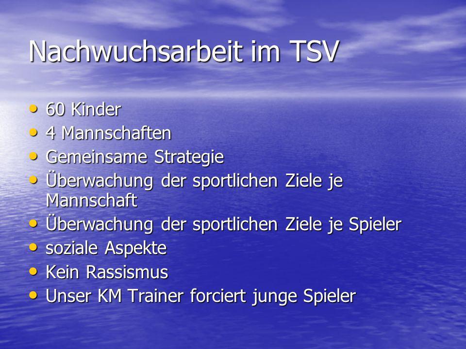 Nachwuchsarbeit im TSV 60 Kinder 60 Kinder 4 Mannschaften 4 Mannschaften Gemeinsame Strategie Gemeinsame Strategie Überwachung der sportlichen Ziele j