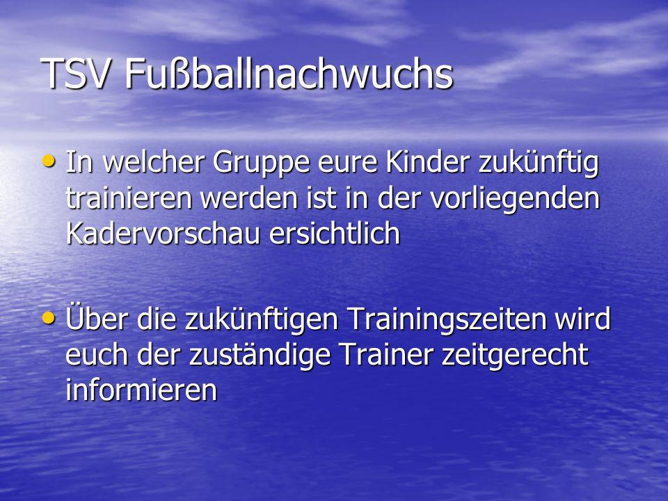 TSV Fußballnachwuchs In welcher Gruppe eure Kinder zukünftig trainieren werden ist in der vorliegenden Kadervorschau ersichtlich In welcher Gruppe eur