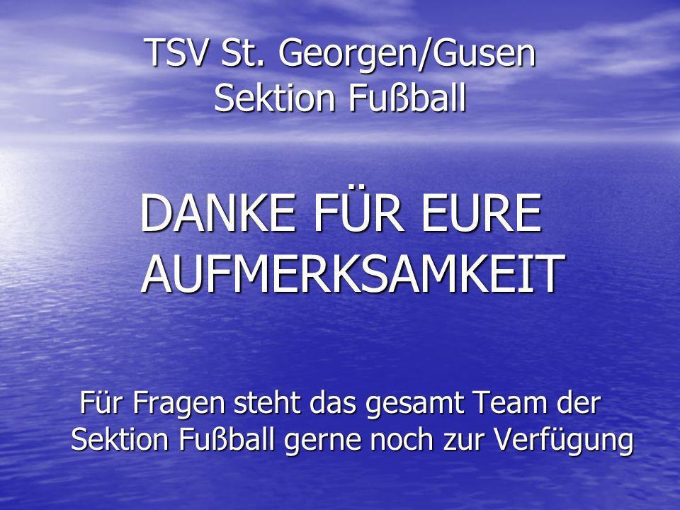 TSV St. Georgen/Gusen Sektion Fußball DANKE FÜR EURE AUFMERKSAMKEIT Für Fragen steht das gesamt Team der Sektion Fußball gerne noch zur Verfügung