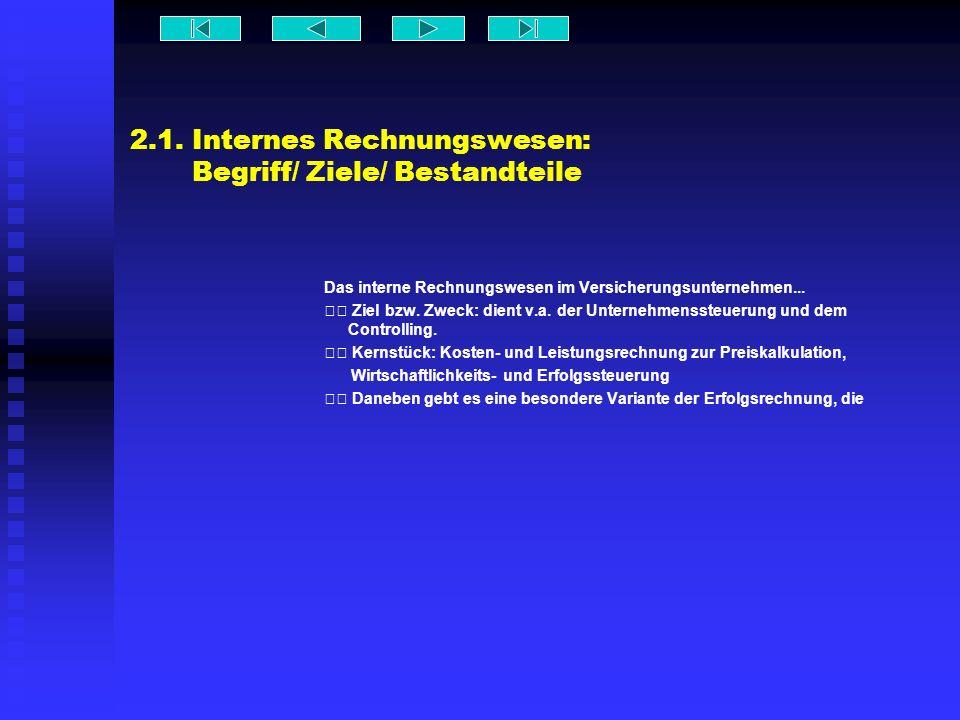2.1. Internes Rechnungswesen: Begriff/ Ziele/ Bestandteile Das interne Rechnungswesen im Versicherungsunternehmen... Ziel bzw. Zweck: dient v.a. der U