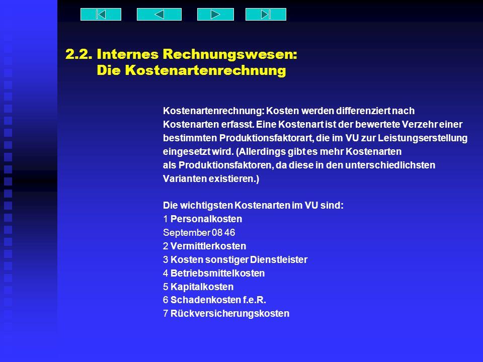 2.2.Internes Rechnungswesen: Die Kostenträgerrechnung Die Endkostenträger sind v.a.