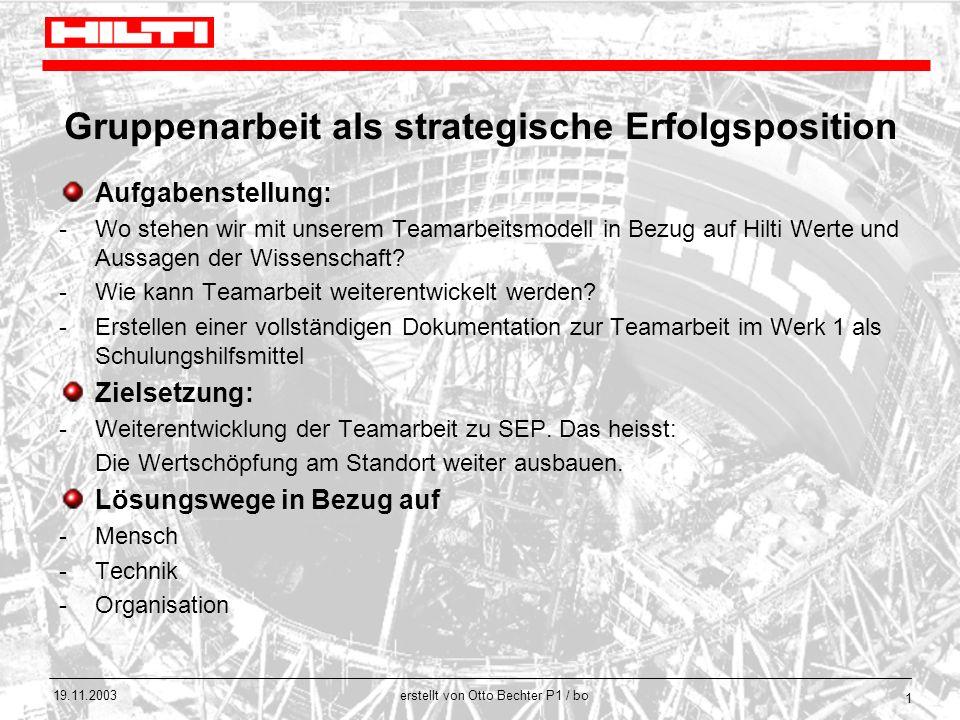 erstellt von Otto Bechter P1 / bo 19.11.2003 1 Gruppenarbeit als strategische Erfolgsposition Aufgabenstellung: -Wo stehen wir mit unserem Teamarbeits