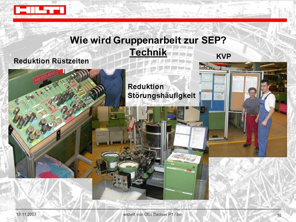 erstellt von Otto Bechter P1 / bo 19.11.2003 10 Wie wird Gruppenarbeit zur SEP? Technik Reduktion Rüstzeiten Reduktion Störungshäufigkeit KVP