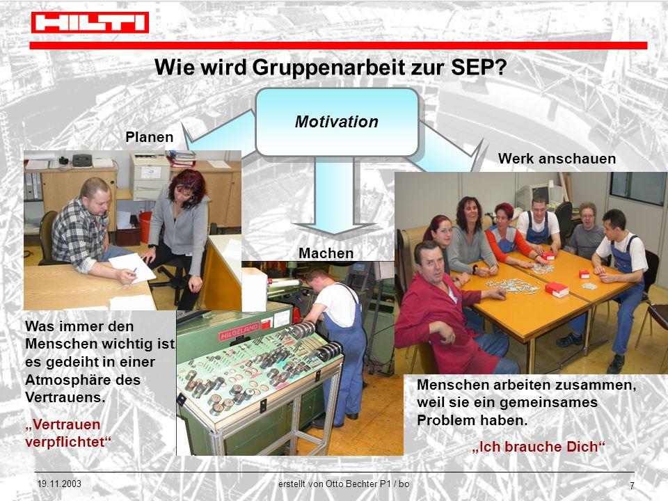 erstellt von Otto Bechter P1 / bo 19.11.2003 7 Wie wird Gruppenarbeit zur SEP? Motivation Werk anschauen Planen Machen Menschen arbeiten zusammen, wei