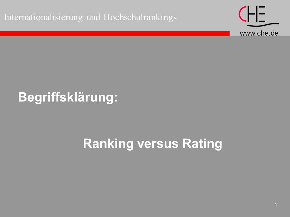 www.che.de Internationalisierung und Hochschulrankings 1 Begriffsklärung: Ranking versus Rating
