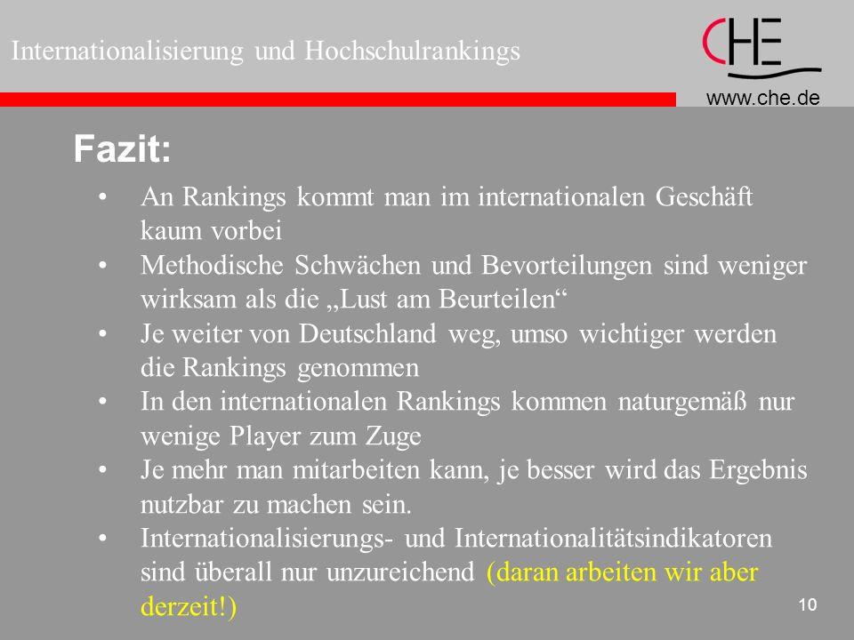 www.che.de Internationalisierung und Hochschulrankings 10 Fazit: An Rankings kommt man im internationalen Geschäft kaum vorbei Methodische Schwächen u