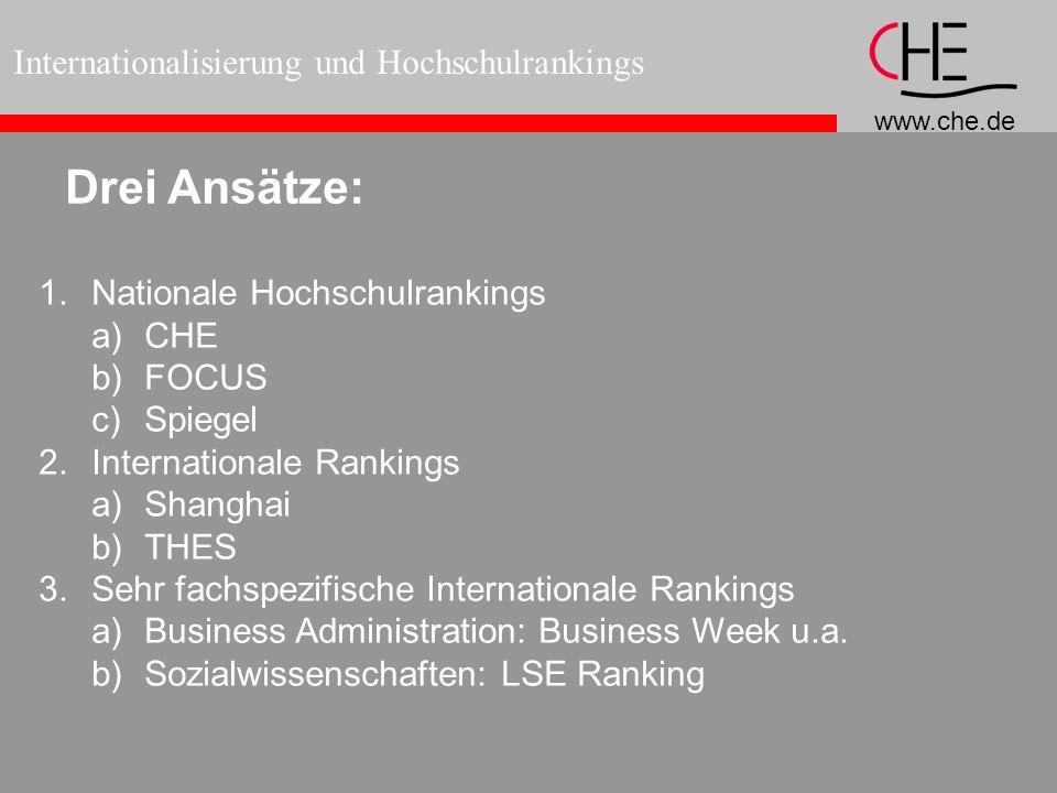 www.che.de Internationalisierung und Hochschulrankings Drei Ansätze: 1.Nationale Hochschulrankings a)CHE b)FOCUS c)Spiegel 2.Internationale Rankings a