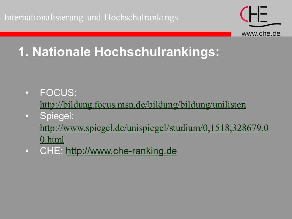 www.che.de Internationalisierung und Hochschulrankings 1. Nationale Hochschulrankings: FOCUS: http://bildung.focus.msn.de/bildung/bildung/unilisten ht