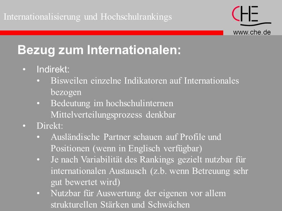 www.che.de Internationalisierung und Hochschulrankings Bezug zum Internationalen: Indirekt: Bisweilen einzelne Indikatoren auf Internationales bezogen