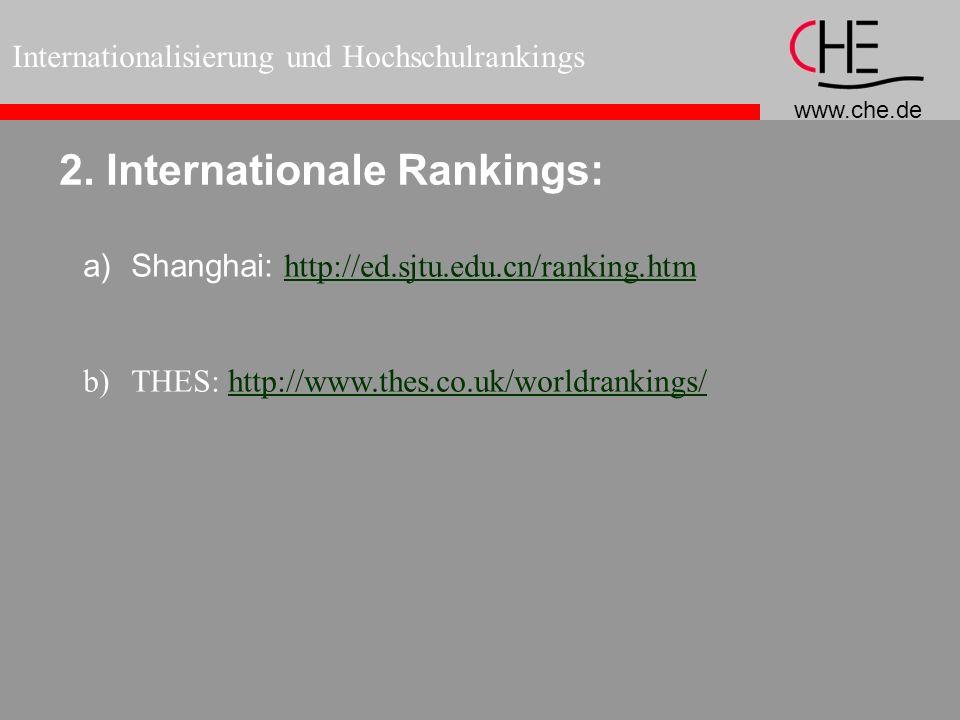 www.che.de Internationalisierung und Hochschulrankings 2. Internationale Rankings: a)Shanghai: http://ed.sjtu.edu.cn/ranking.htm http://ed.sjtu.edu.cn