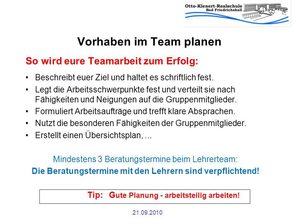 21.09.2010 Vorhaben im Team planen So wird eure Teamarbeit zum Erfolg: Beschreibt euer Ziel und haltet es schriftlich fest. Legt die Arbeitsschwerpunk