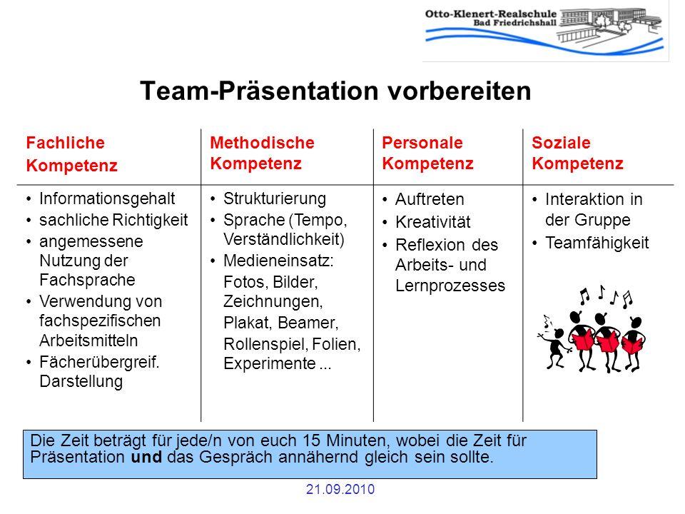21.09.2010 Team-Präsentation vorbereiten Fachliche Kompetenz Methodische Kompetenz Personale Kompetenz Soziale Kompetenz Informationsgehalt sachliche