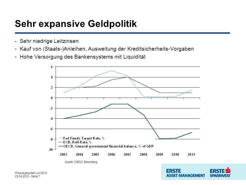 Pressegespräch Juli 2010 23.04.2010 - Seite 7 Sehr expansive Geldpolitik Quelle: OECD, Bloomberg -Sehr niedrige Leitzinsen -Kauf von (Staats-)Anleihen, Ausweitung der Kreditsicherheits-Vorgaben -Hohe Versorgung des Bankensystems mit Liquidität