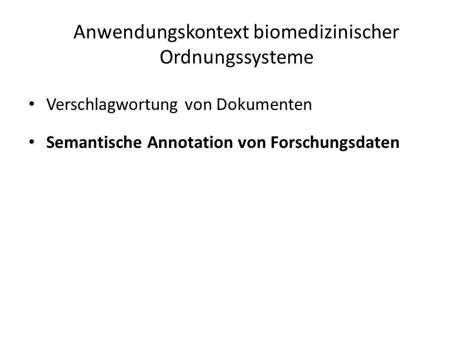 Verschlagwortung von Dokumenten Semantische Annotation von Forschungsdaten Anwendungskontext biomedizinischer Ordnungssysteme