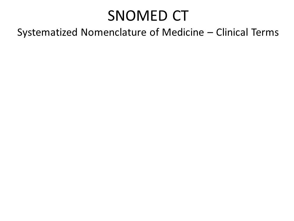 SNOMED CT Systematized Nomenclature of Medicine – Clinical Terms