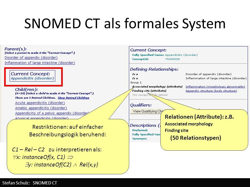 SNOMED CT als formales System Restriktionen: auf einfacher Beschreibungslogik beruhend: C1 – Rel – C2 zu interpretieren als: x: instanceOf(x, C1) y: i