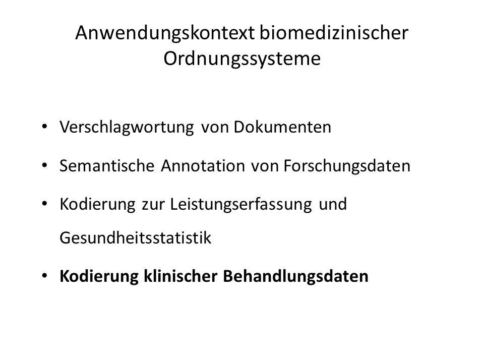 Verschlagwortung von Dokumenten Semantische Annotation von Forschungsdaten Kodierung zur Leistungserfassung und Gesundheitsstatistik Kodierung klinischer Behandlungsdaten Anwendungskontext biomedizinischer Ordnungssysteme